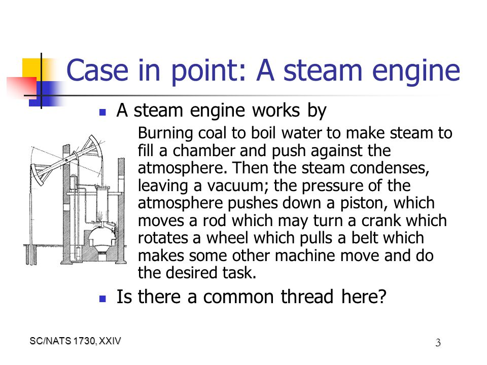 SC/NATS 1730, XXIV 3 Case in point: A steam engine A steam engine works by Burning coal to boil water to make steam to fill a chamber and push against the atmosphere.