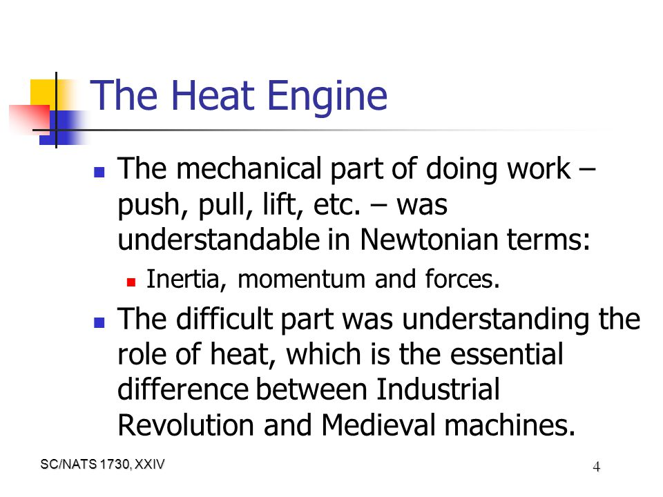 SC/NATS 1730, XXIV 4 The Heat Engine The mechanical part of doing work – push, pull, lift, etc.