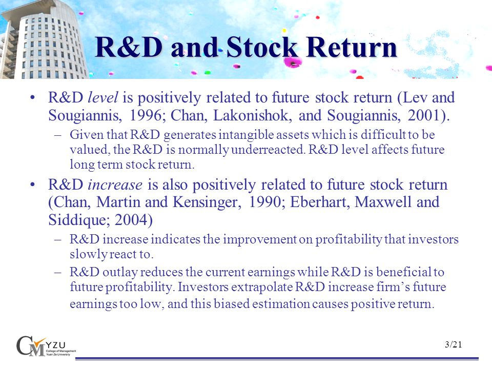 14/21 Some Robust Checks Fama and French (1993) three-factor model Control the time-varying risk betas in factor model Control the delisting return in factor model Remove the repeating R&D increase events Change the definitions of the R&D increase follower All these approaches appear consistent result.