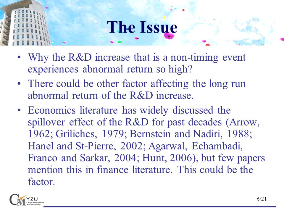 7/21 R&D Spillover Effect R&D spillover describes the fact that privately owned firm does not (or cannot) appropriate the outcome of its R&D investment.