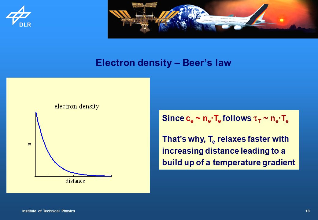 Institute of Technical Physics 18 Electron density – Beer's law Since c e ~ n e ·T e follows  T ~ n e ·T e That's why, T e relaxes faster with increasing distance leading to a build up of a temperature gradient