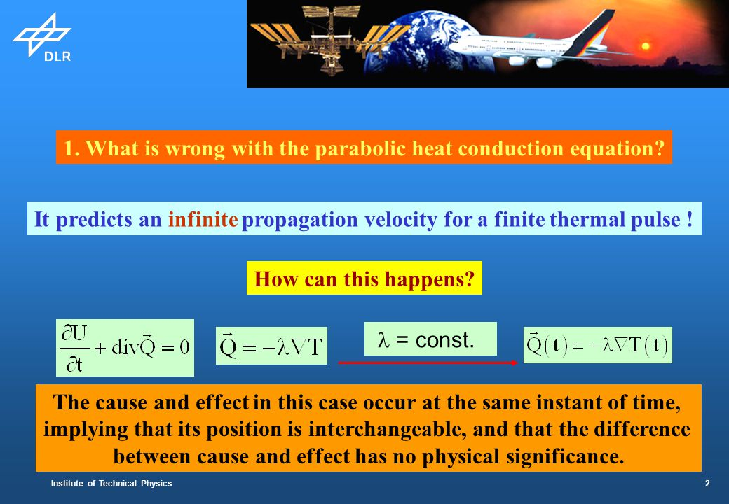 Institute of Technical Physics 2 1.What is wrong with the parabolic heat conduction equation.