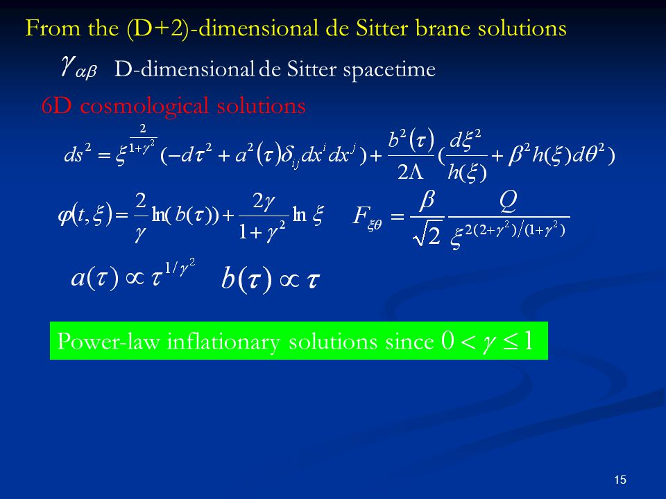 15 From the (D+2)-dimensional de Sitter brane solutions D-dimensional de Sitter spacetime Power-law inflationary solutions since 6D cosmological solut