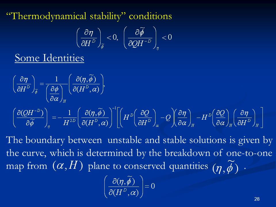 28 The boundary between unstable and stable solutions is given by the curve, which is determined by the breakdown of one-to-one map from plane to cons
