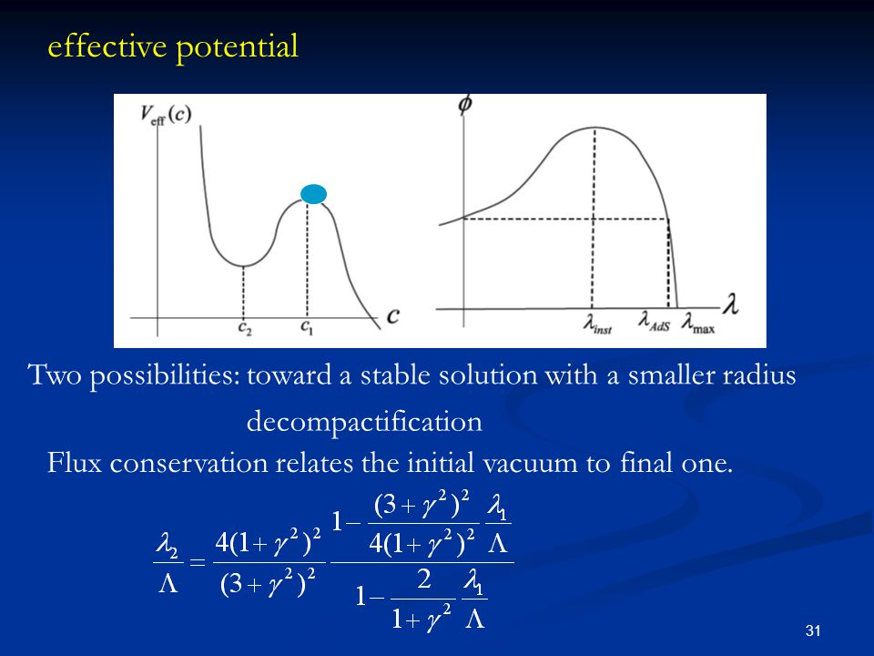 31 effective potential Flux conservation relates the initial vacuum to final one. Two possibilities: toward a stable solution with a smaller radius de