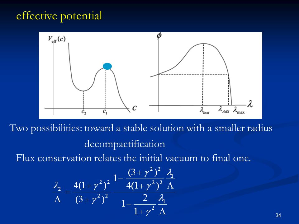 34 effective potential Flux conservation relates the initial vacuum to final one. Two possibilities: toward a stable solution with a smaller radius de
