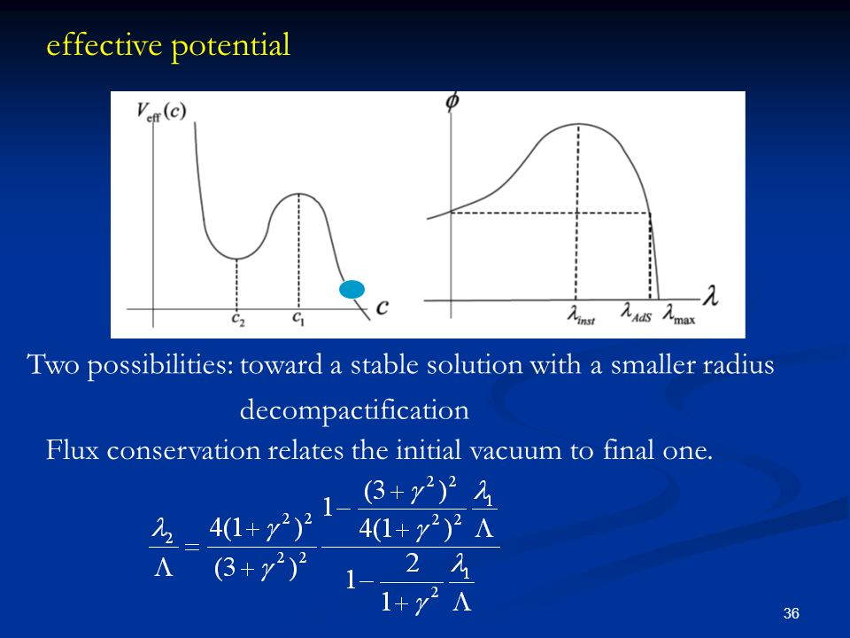 36 effective potential Flux conservation relates the initial vacuum to final one. Two possibilities: toward a stable solution with a smaller radius de