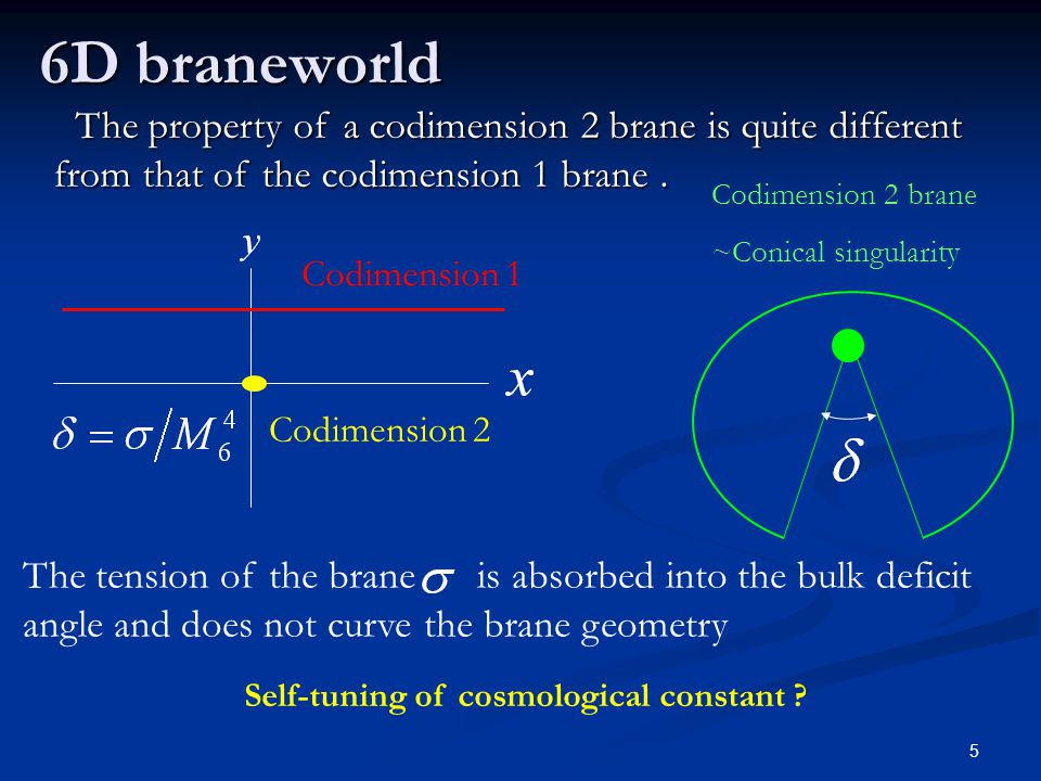 5 The property of a codimension 2 brane is quite different from that of the codimension 1 brane. The property of a codimension 2 brane is quite differ