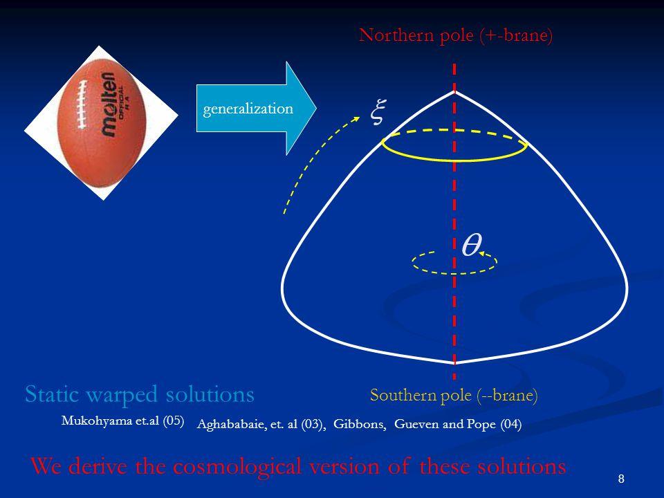 8 Northern pole (+-brane) Southern pole (--brane) generalization Static warped solutions Mukohyama et.al (05) Aghababaie, et.