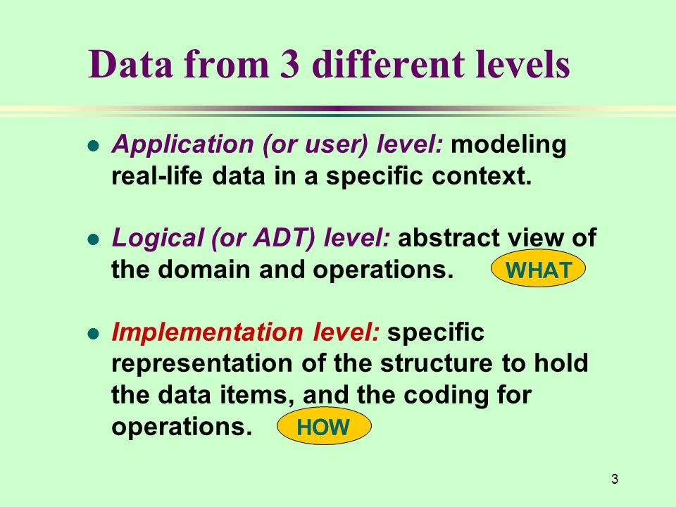 3 l Application (or user) level: modeling real-life data in a specific context. l Logical (or ADT) level: abstract view of the domain and operations.