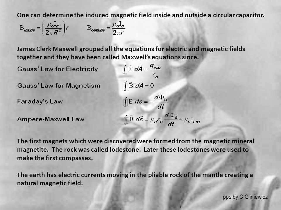 pps by C Gliniewicz One can determine the induced magnetic field inside and outside a circular capacitor. James Clerk Maxwell grouped all the equation