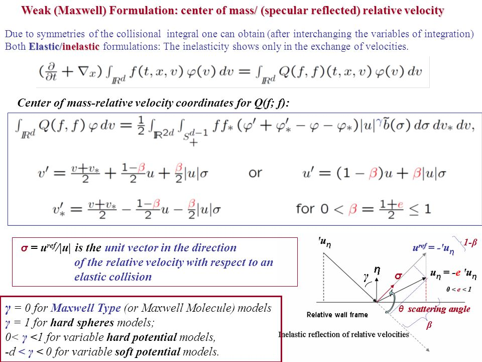 Weak (Maxwell) Formulation: center of mass/ (specular reflected) relative velocity Due to symmetries of the collisional integral one can obtain (after