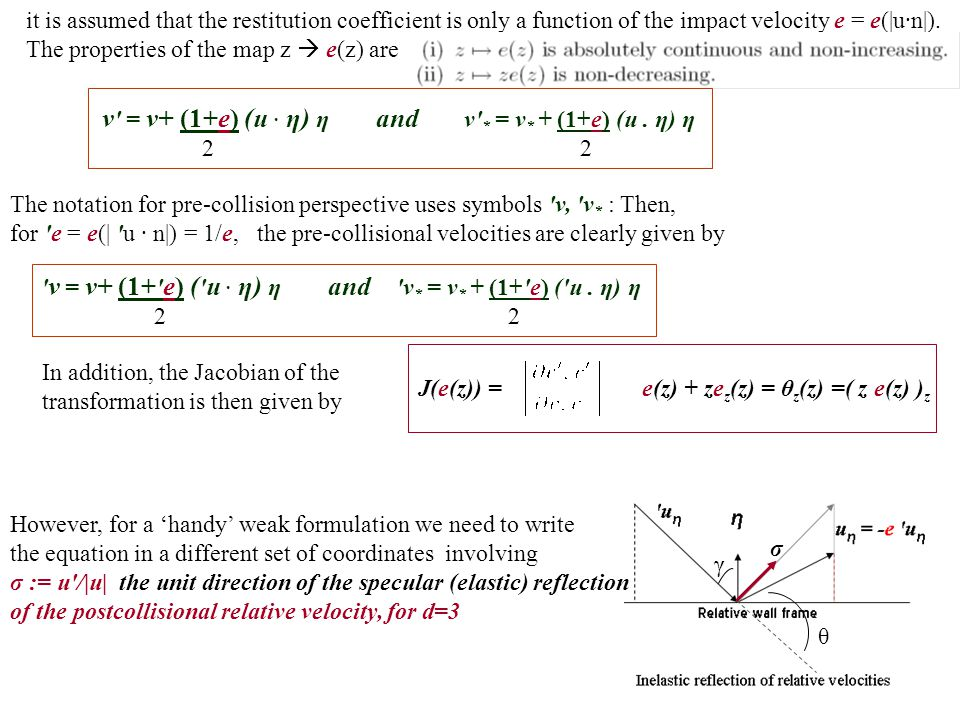 it is assumed that the restitution coefficient is only a function of the impact velocity e = e(|u·n|). The properties of the map z  e(z) are v ' = v+