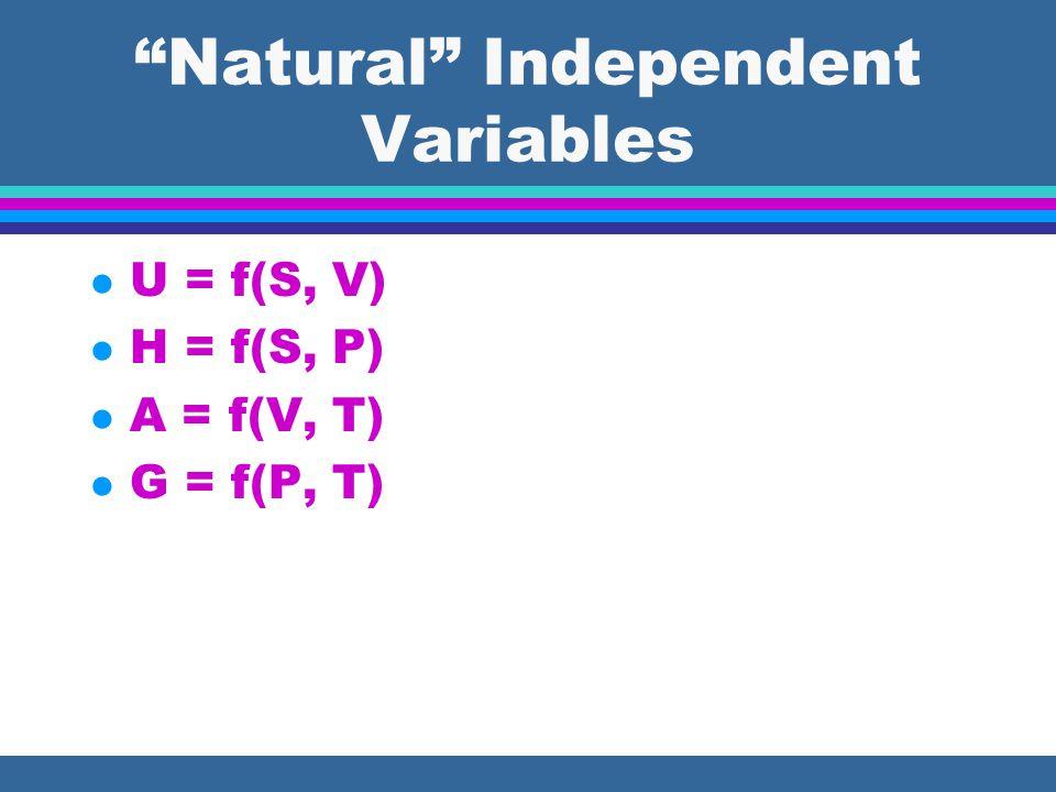 H (T, P) l dH = TdS + VdP (  H/  P) T = T(  S/  P) T +V From Maxwell: l dG = VdP – SdT (  S/  P) T = - (  V/  T) P subst.