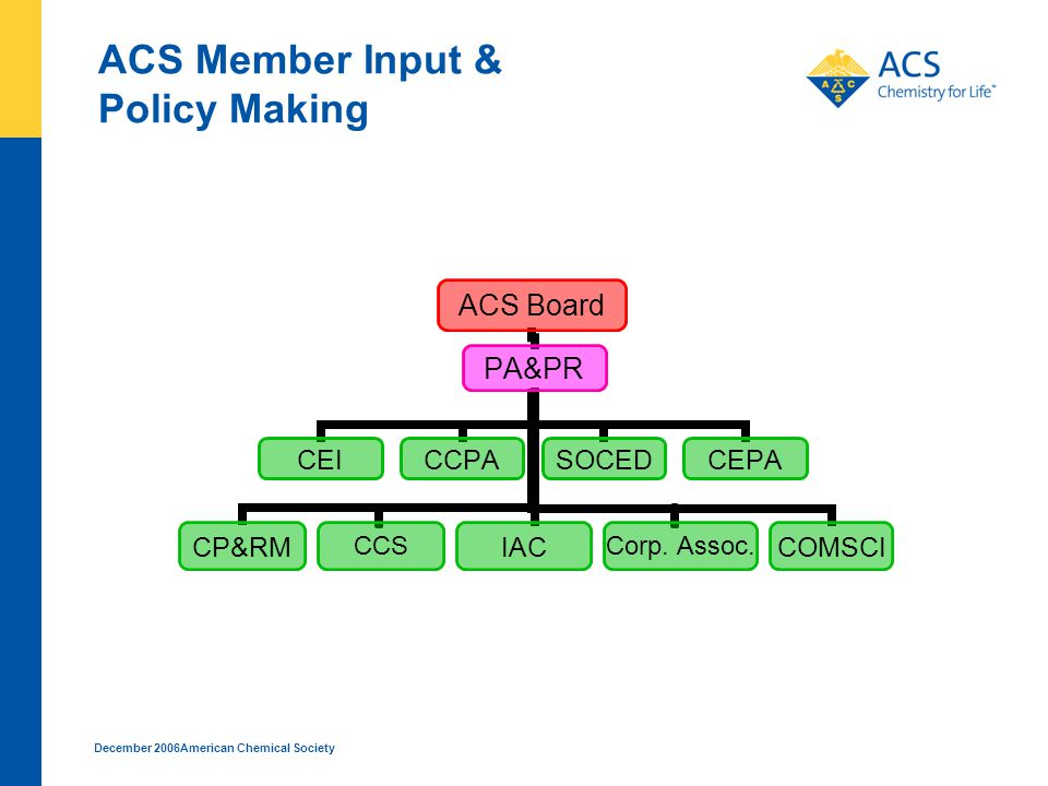 December 2006American Chemical Society ACS Member Input & Policy Making Corp. Assoc. CCS