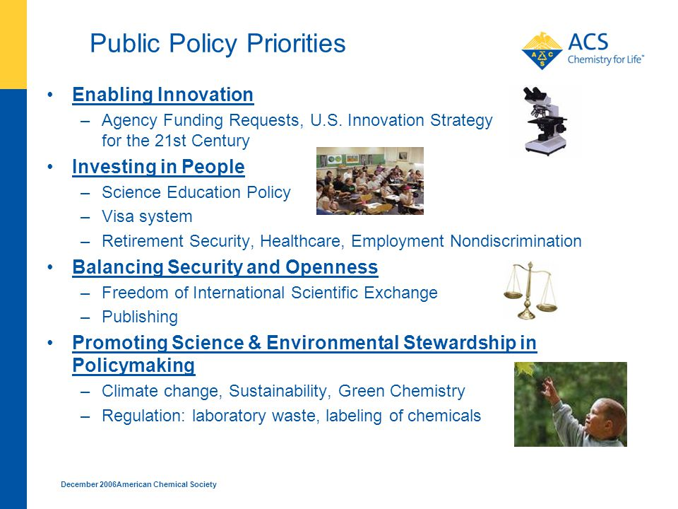 December 2006American Chemical Society Public Policy Priorities Enabling Innovation –Agency Funding Requests, U.S.