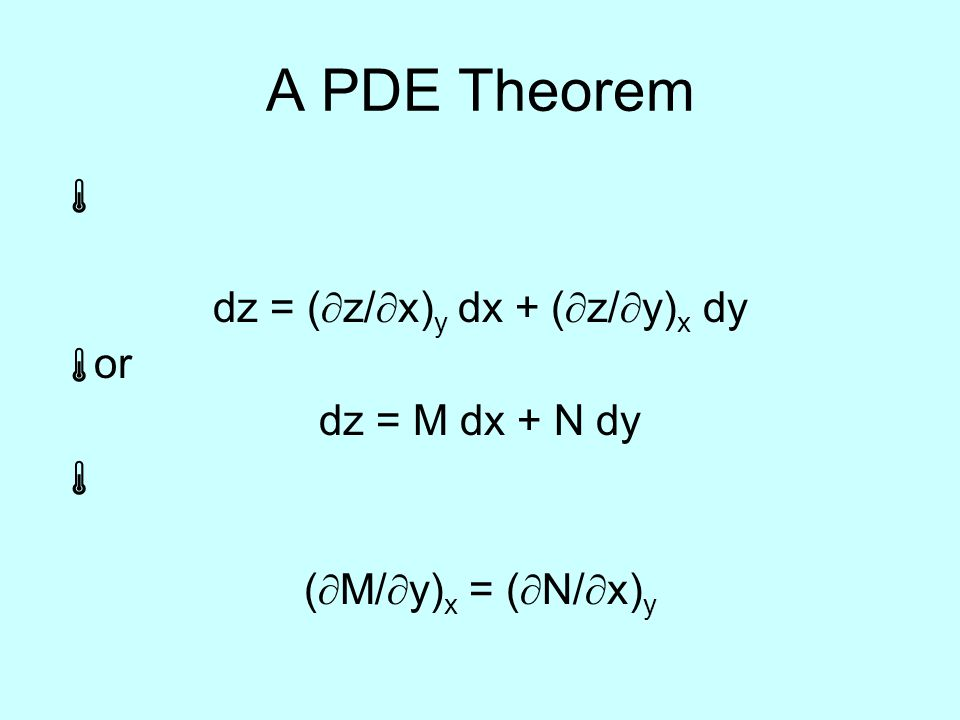 A PDE Theorem  dz = (  z/  x) y dx + (  z/  y) x dy  or dz = M dx + N dy  (  M/  y) x = (  N/  x) y