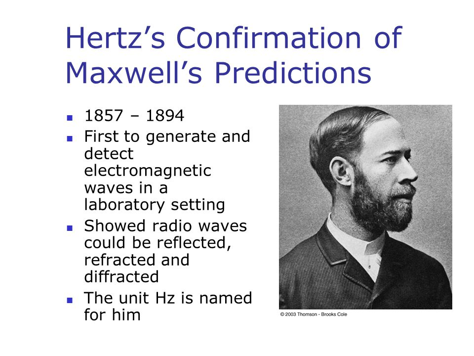 Hertz's Confirmation of Maxwell's Predictions 1857 – 1894 First to generate and detect electromagnetic waves in a laboratory setting Showed radio waves could be reflected, refracted and diffracted The unit Hz is named for him