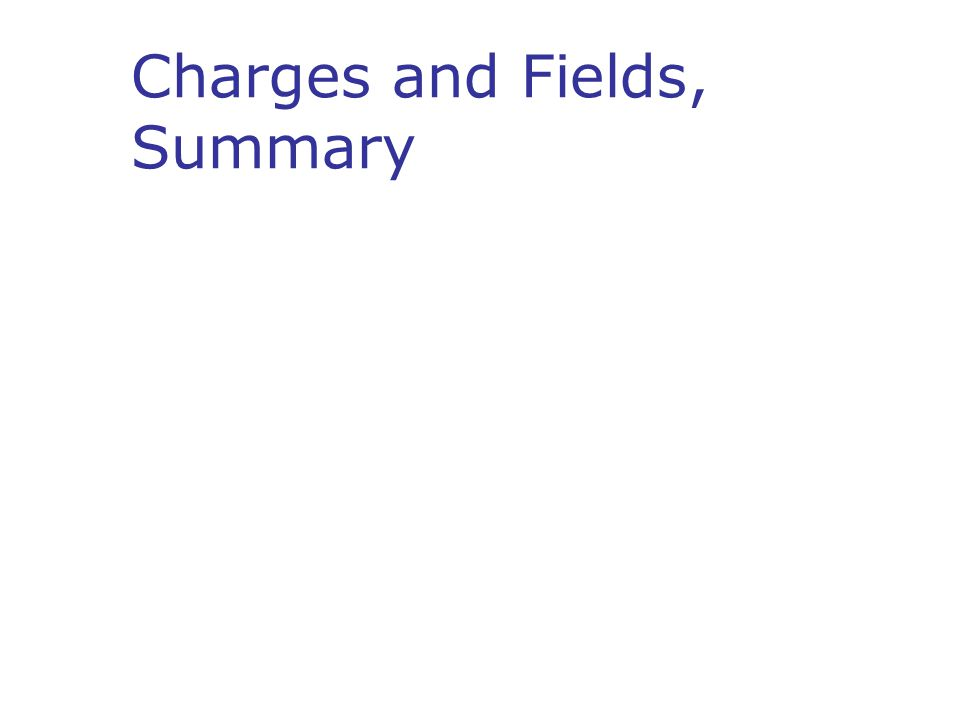 Charges and Fields, Summary