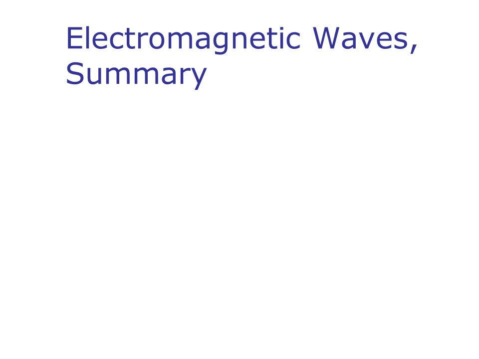 Electromagnetic Waves, Summary