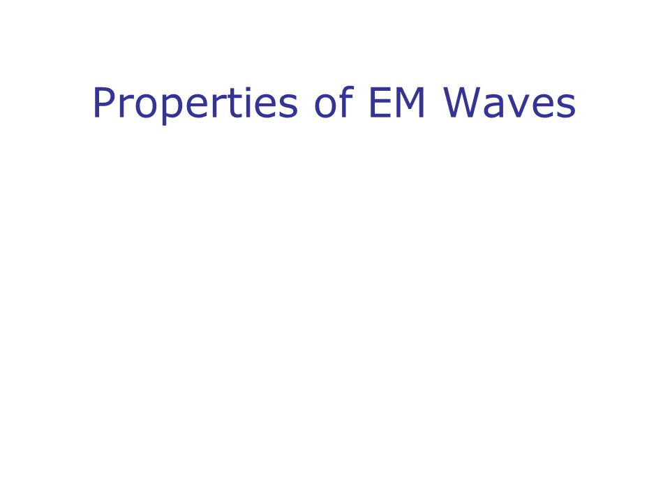 Properties of EM Waves