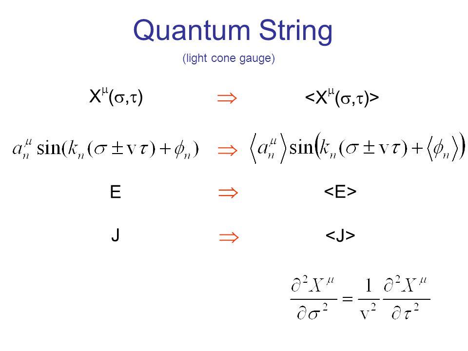 Quantum String X(,)X(,)   E  J  (light cone gauge)