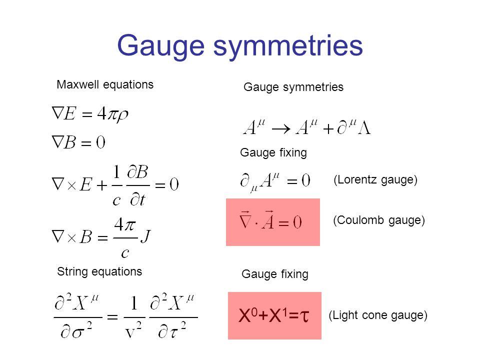 Gauge symmetries Maxwell equations Gauge symmetries (Lorentz gauge) (Coulomb gauge) String equations (Light cone gauge) X 0 +X 1 =  Gauge fixing