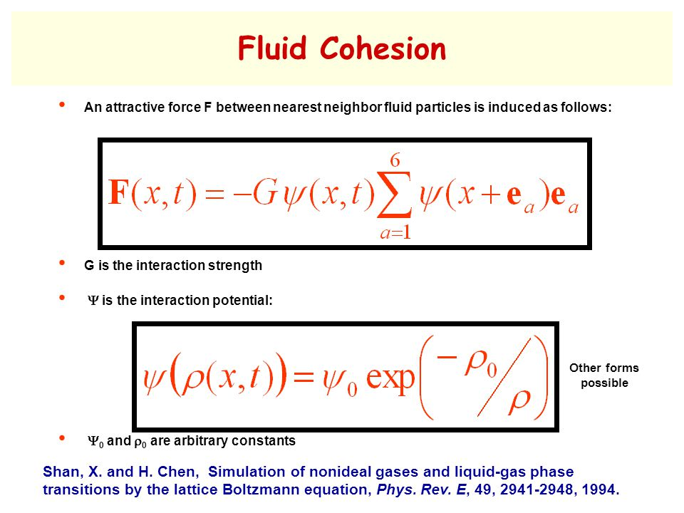 Fluid Cohesion An attractive force F between nearest neighbor fluid particles is induced as follows: G is the interaction strength  is the interaction potential:  0 and  0 are arbitrary constants Shan, X.