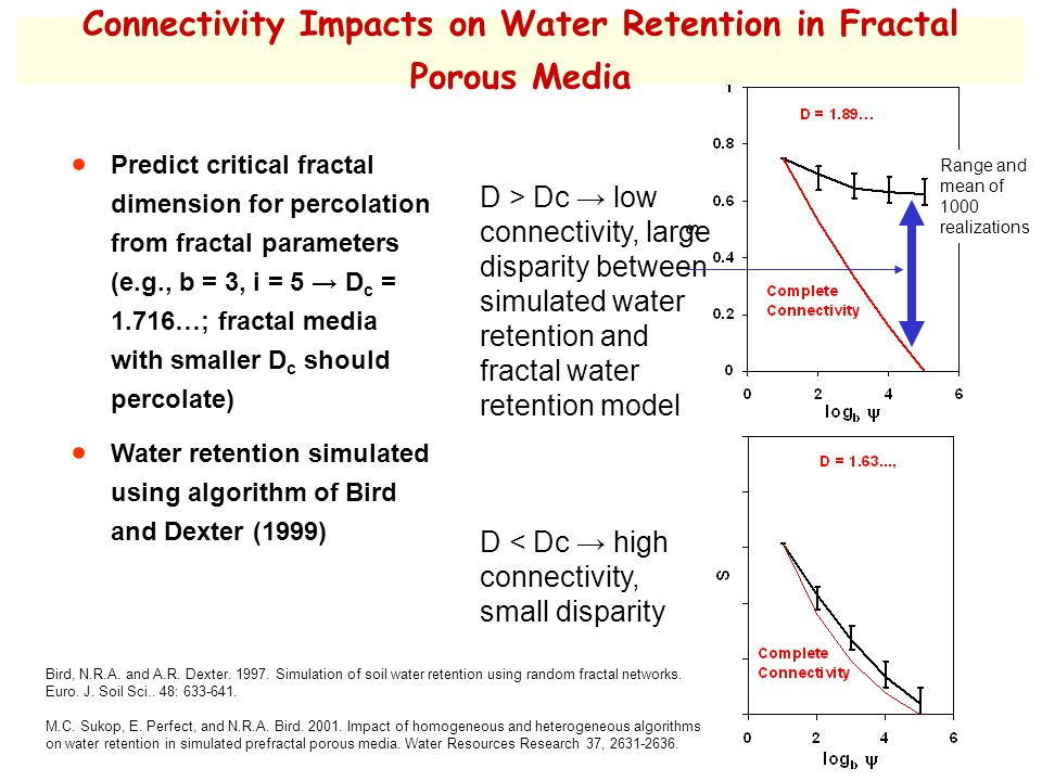 Connectivity Impacts on Water Retention in Fractal Porous Media Bird, N.R.A.