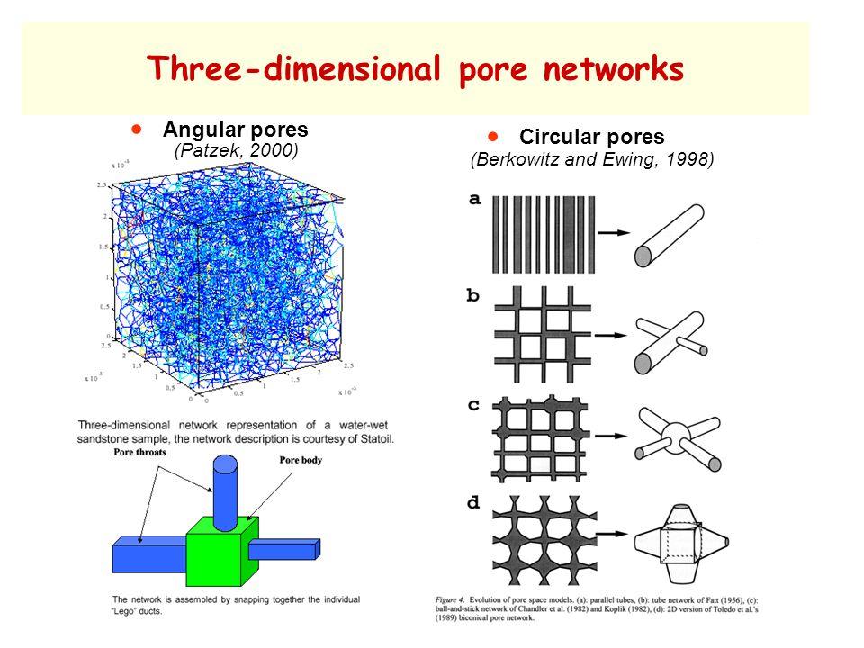 Three-dimensional pore networks  Angular pores (Patzek, 2000)  Circular pores (Berkowitz and Ewing, 1998)