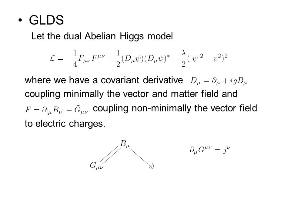 GLDS Let the dual Abelian Higgs model where we have a covariant derivative coupling minimally the vector and matter field and coupling non-minimally the vector field to electric charges.