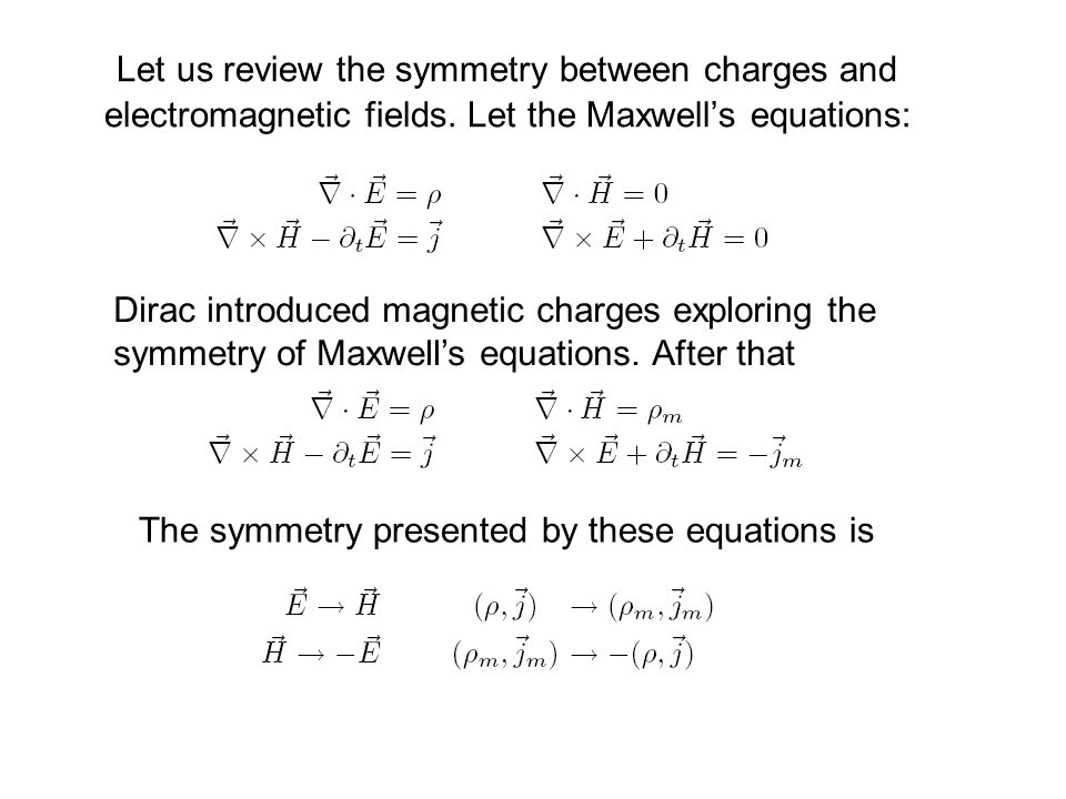 Let us review the symmetry between charges and electromagnetic fields.