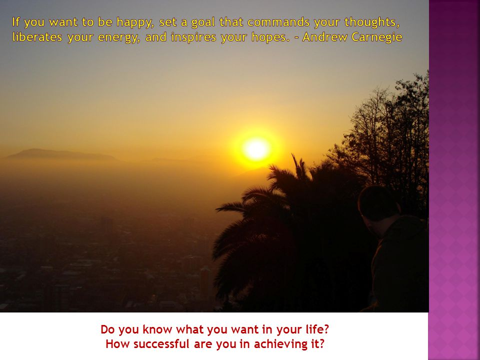 Do you know what you want in your life? How successful are you in achieving it?