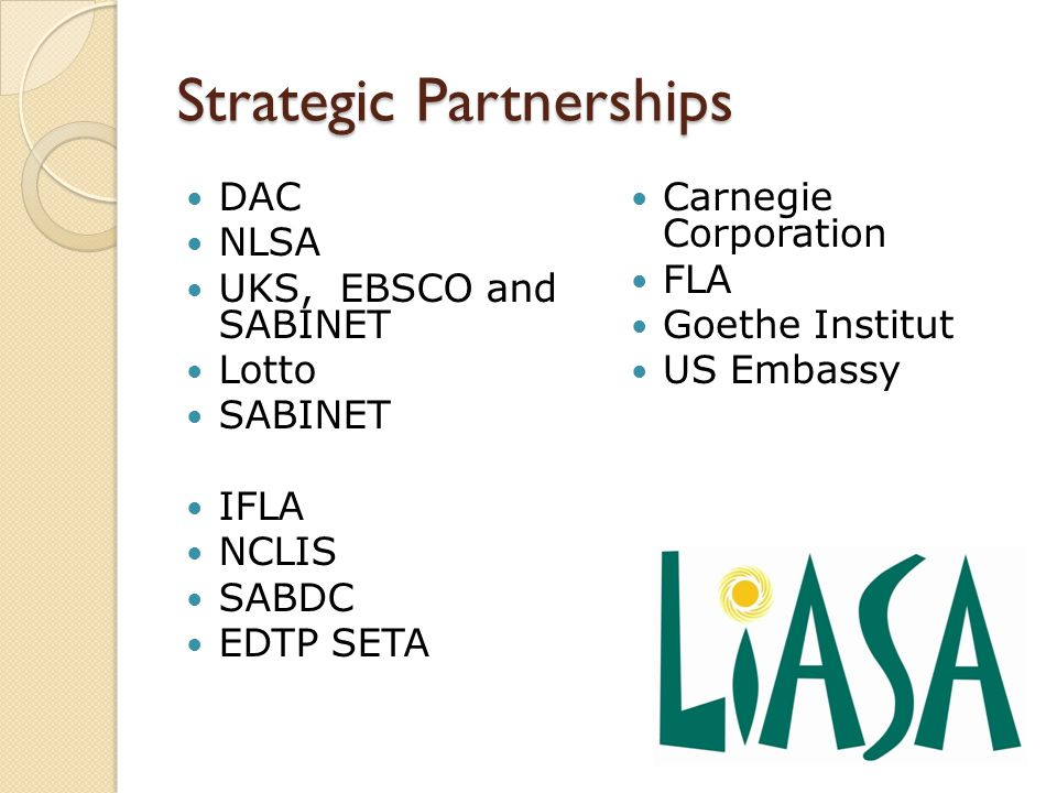 Strategic Partnerships DAC NLSA UKS, EBSCO and SABINET Lotto SABINET IFLA NCLIS SABDC EDTP SETA Carnegie Corporation FLA Goethe Institut US Embassy