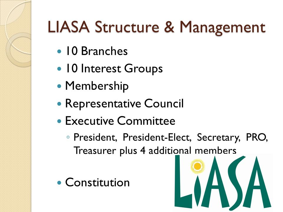 LIASA Structure & Management 10 Branches 10 Interest Groups Membership Representative Council Executive Committee ◦ President, President-Elect, Secret