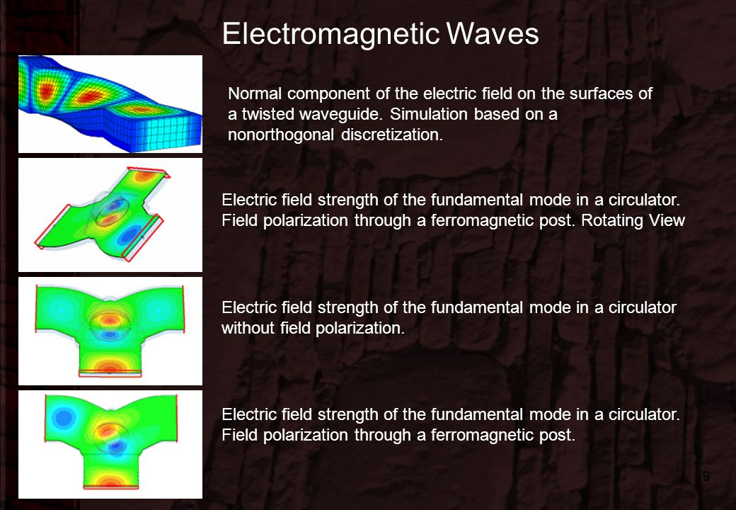 Dr.-Ing. René Marklein - EFT I - SS 06 - Lecture 1 / Vorlesung 1 9 Normal component of the electric field on the surfaces of a twisted waveguide. Simu