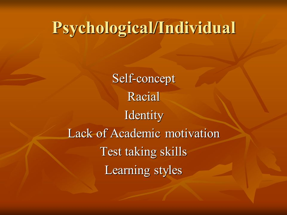 Psychological/Individual Self-conceptRacialIdentity Lack of Academic motivation Test taking skills Learning styles