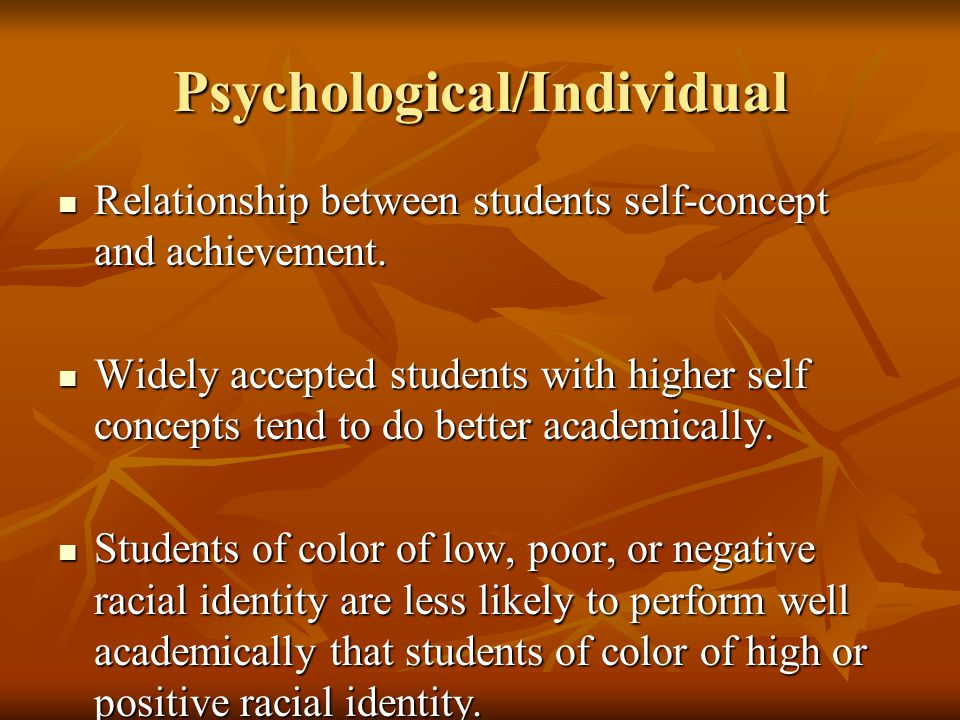 Psychological/Individual Relationship between students self-concept and achievement. Relationship between students self-concept and achievement. Widel