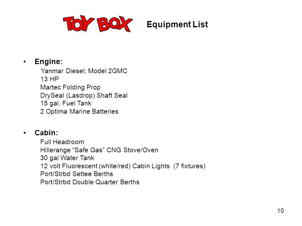 10 Engine: Yanmar Diesel; Model 2GMC 13 HP Martec Folding Prop DrySeal (Lasdrop) Shaft Seal 15 gal. Fuel Tank 2 Optima Marine Batteries Cabin: Full He