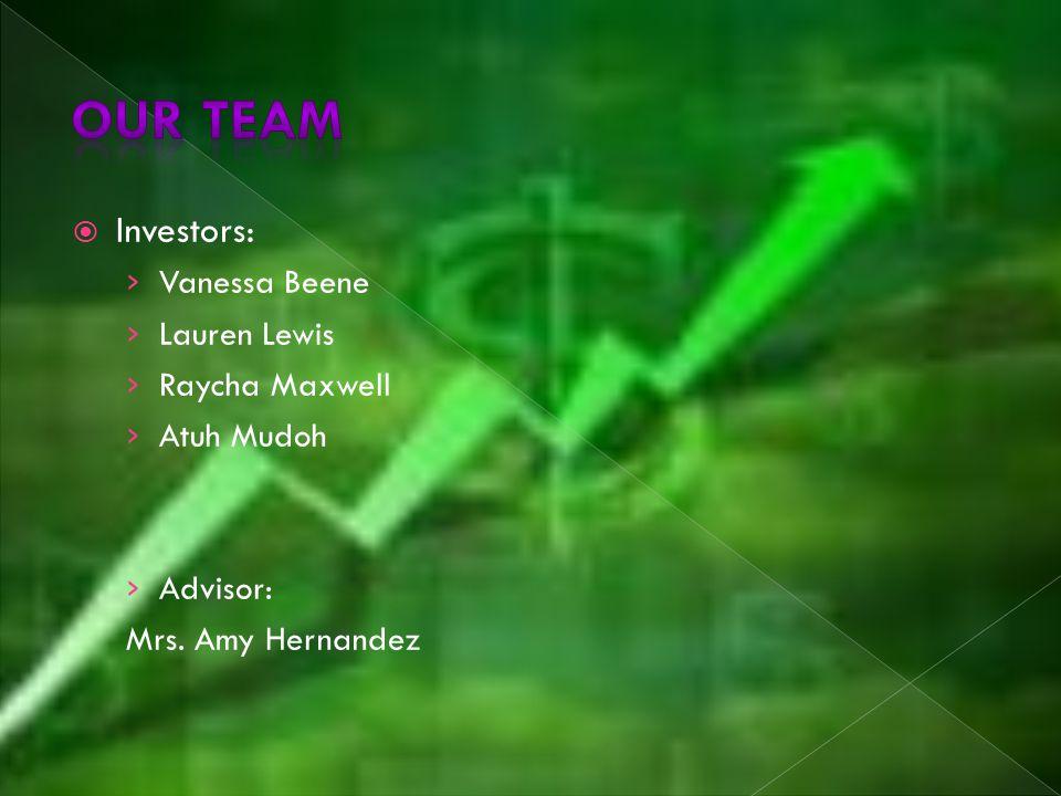  Investors: › Vanessa Beene › Lauren Lewis › Raycha Maxwell › Atuh Mudoh › Advisor: Mrs.