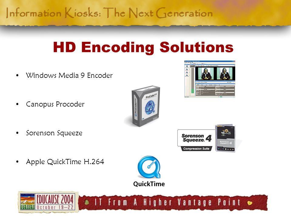 HD Encoding Solutions Windows Media 9 Encoder Canopus Procoder Sorenson Squeeze Apple QuickTime H.264