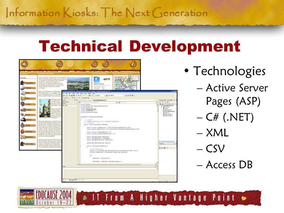 Technical Development Technologies –Active Server Pages (ASP) –C# (.NET) –XML –CSV –Access DB