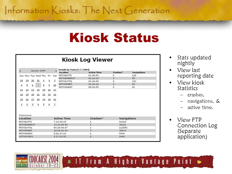 Kiosk Status Stats updated nightly View last reporting date View kiosk Statistics –crashes, –navigations, & –active time.