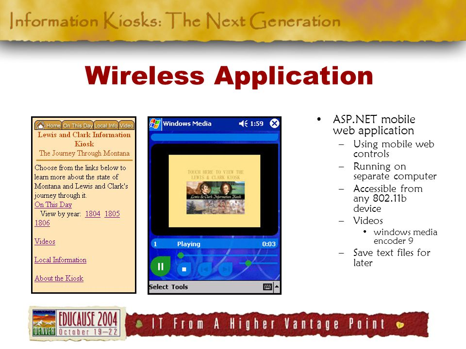 Wireless Application ASP.NET mobile web application –Using mobile web controls –Running on separate computer –Accessible from any 802.11b device –Videos windows media encoder 9 –Save text files for later