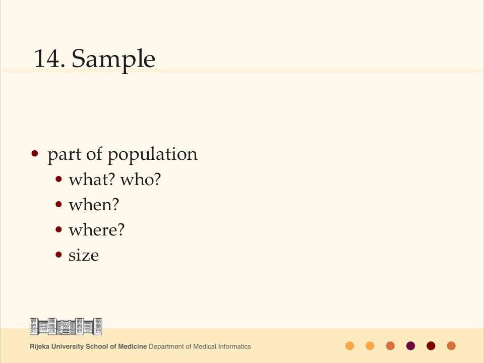 14. Sample part of population what? who? when? where? size