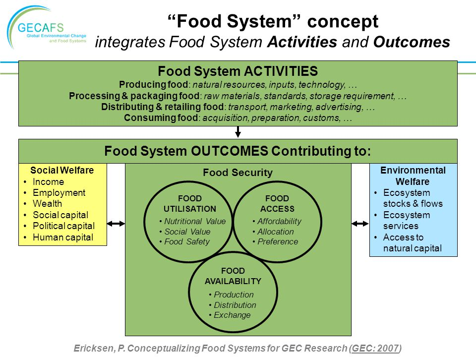 Food Security FOOD UTILISATION FOOD ACCESS Affordability Allocation Preference Nutritional Value Social Value Food Safety FOOD AVAILABILITY Production Distribution Exchange Environmental Welfare Ecosystem stocks & flows Ecosystem services Access to natural capital Social Welfare Income Employment Wealth Social capital Political capital Human capital Food System OUTCOMES Contributing to: Food System ACTIVITIES Producing food: natural resources, inputs, technology, … Processing & packaging food: raw materials, standards, storage requirement, … Distributing & retailing food: transport, marketing, advertising, … Consuming food: acquisition, preparation, customs, … Ericksen, P.