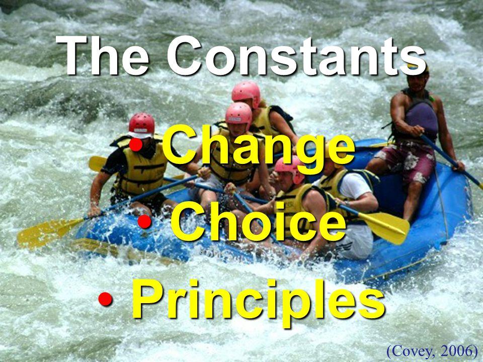 The Constants Change Change Choice Choice Principles Principles (Covey, 2006)