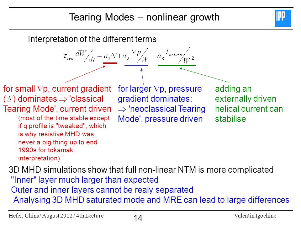 Hefei, China/ August 2012 / 4th LectureValentin Igochine 14 Interpretation of the different terms Tearing Modes – nonlinear growth 3D MHD simulations