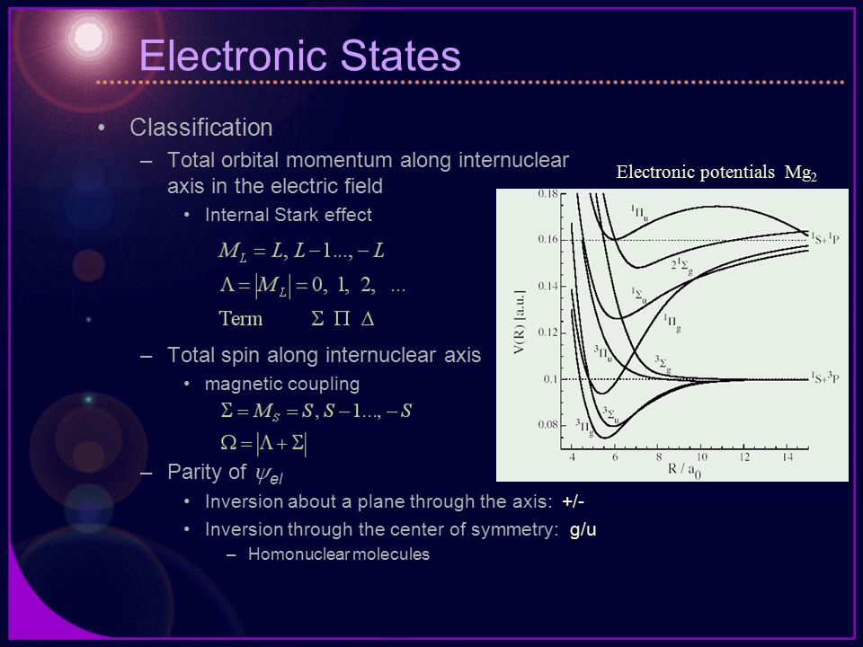 Electronic States Classification –Total orbital momentum along internuclear axis in the electric field Internal Stark effect –Total spin along internuclear axis magnetic coupling –Parity of  el Inversion about a plane through the axis: +/- Inversion through the center of symmetry: g/u –Homonuclear molecules Electronic potentials Mg 2