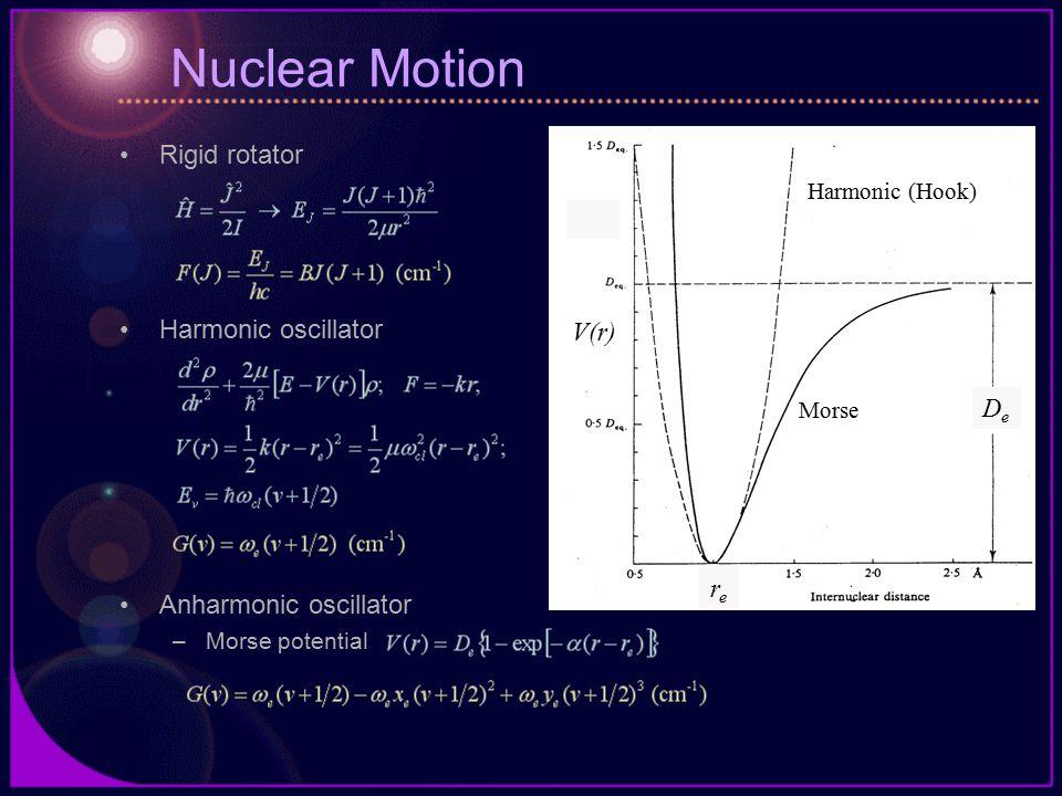 Nuclear Motion Rigid rotator Harmonic oscillator Anharmonic oscillator –Morse potential V(r) rere DeDe Harmonic (Hook) Morse